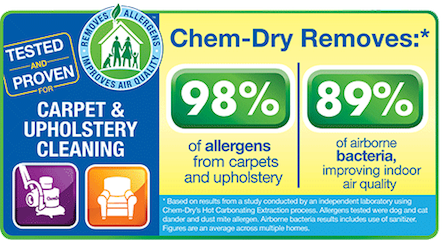 Chem-Dry can remove up to 98% of allergens.